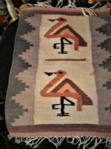 ANTIQUE SMALL TABLE RUNNER WALL ART WOVEN WOOL FRINGED MAT PINK FLAMINGOS